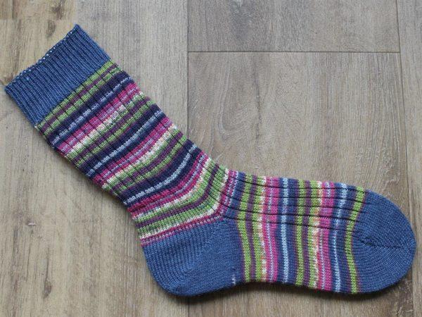gestreepte sokken blauwe hiel